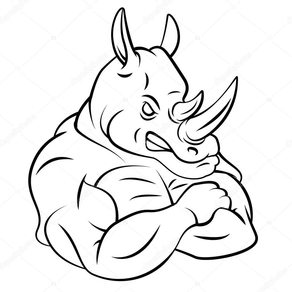 Drawn rhino face Rhino Depositphotos® Free Stock Rhino