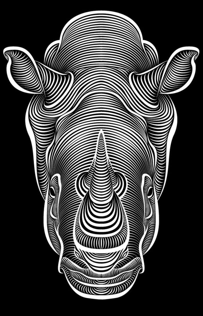 Drawn rhino face Super biz Page Face design