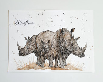 Drawn rhino jungle animal Painting rhino rhino art gifts