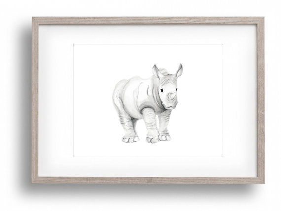 Drawn rhino jungle animal Jungle item? Nursery and Safari