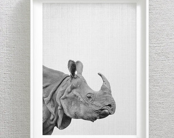 Drawn rhino jungle animal Head Minimalist Rhino Nursery Printables