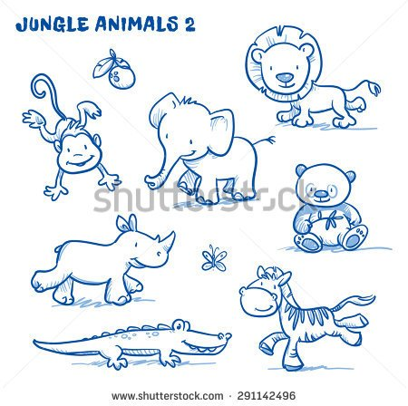 Drawn rhino jungle animal Lion jungle animals lion zebra