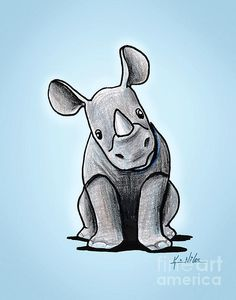 Drawn rhino little kid White by @deviantART ursulav on