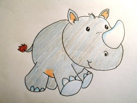 Drawn rhino africa To a Rhino Cartoon Draw