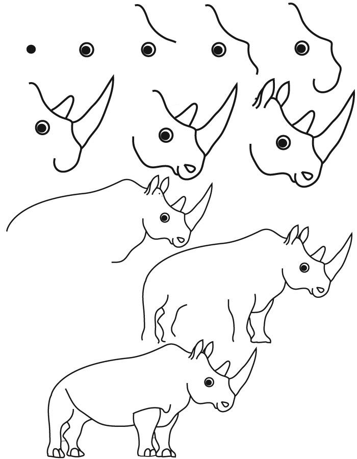 Drawn rhino little kid Step step tutorials sea animals