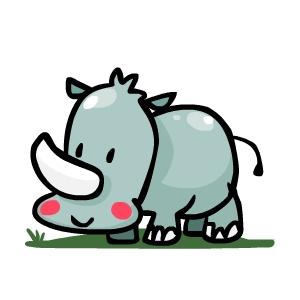Drawn rhino little kid By last time step