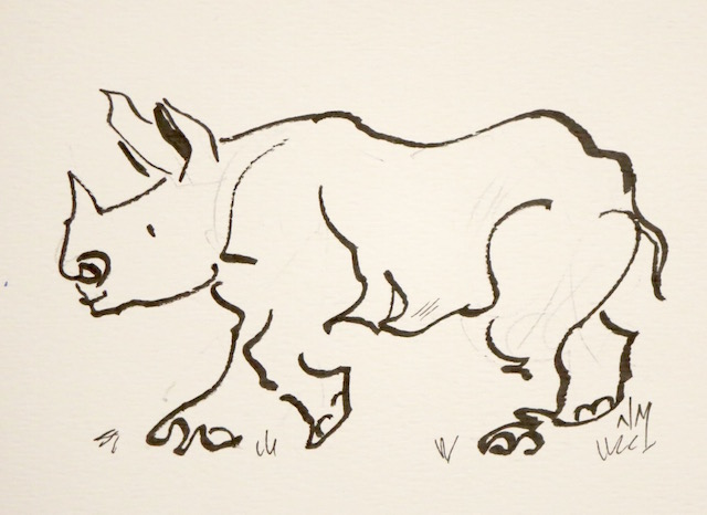 Drawn rhino medieval animal Toronto Nora line by Artist