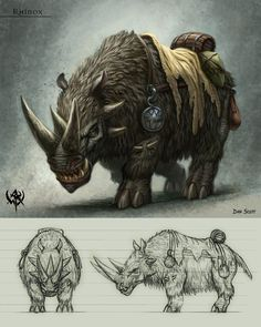Drawn rhino monster Google 1 Creatures Concept Monsters