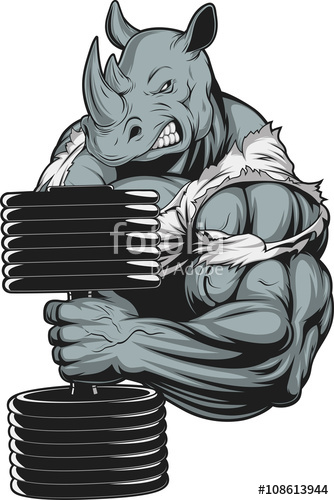 Drawn rhino muscular  image and vector with