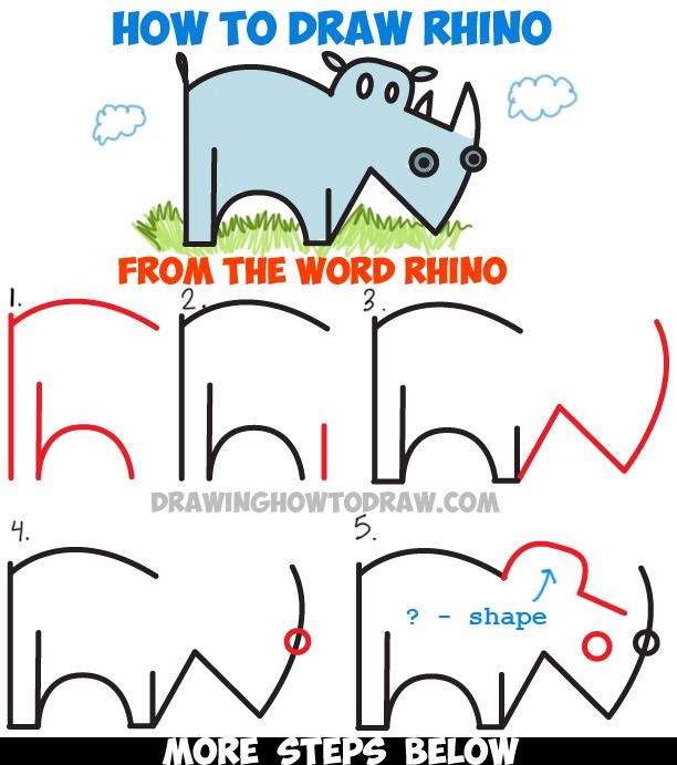Drawn rhino simple Rhinoceros a Learn by Rhino