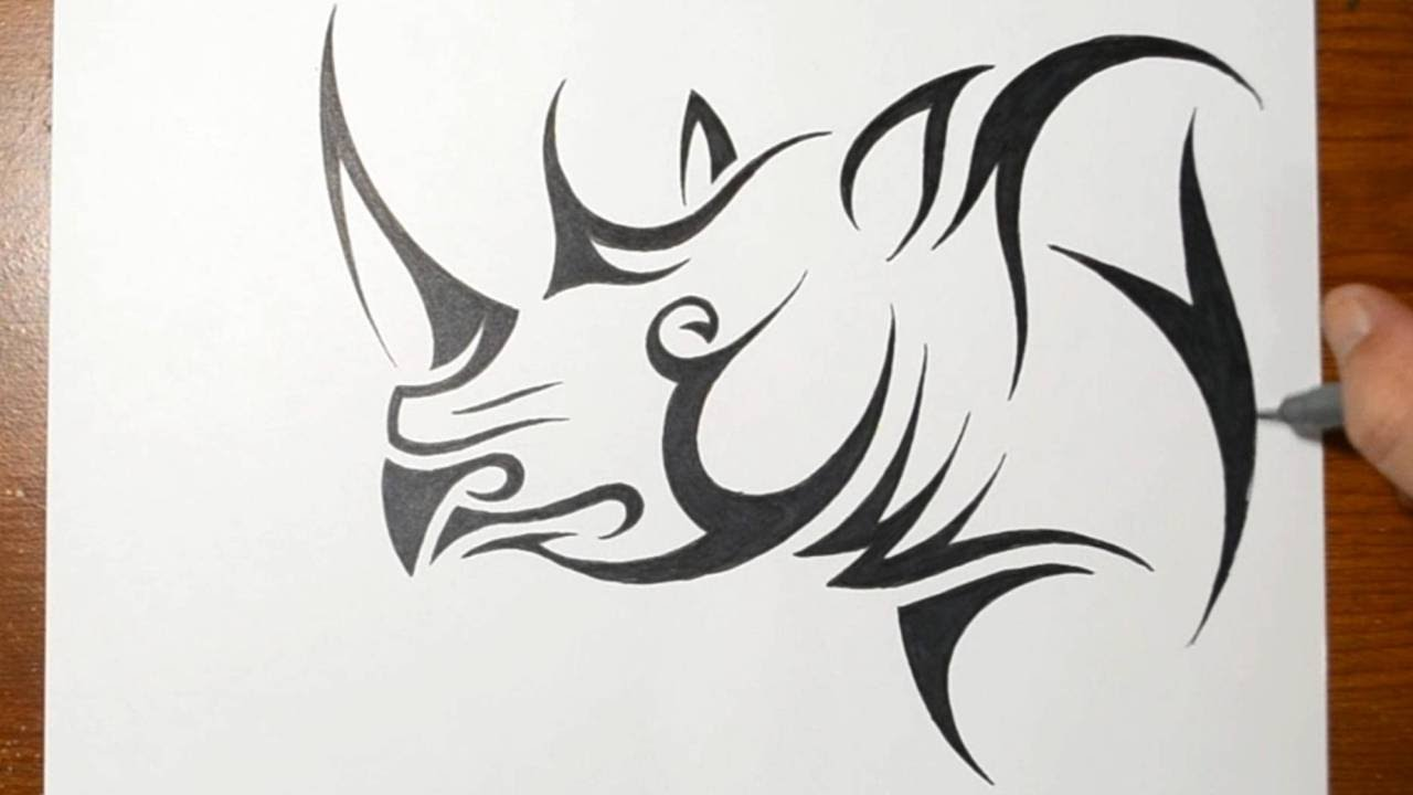 Drawn rhino sketch Rhino  a Tattoo Draw