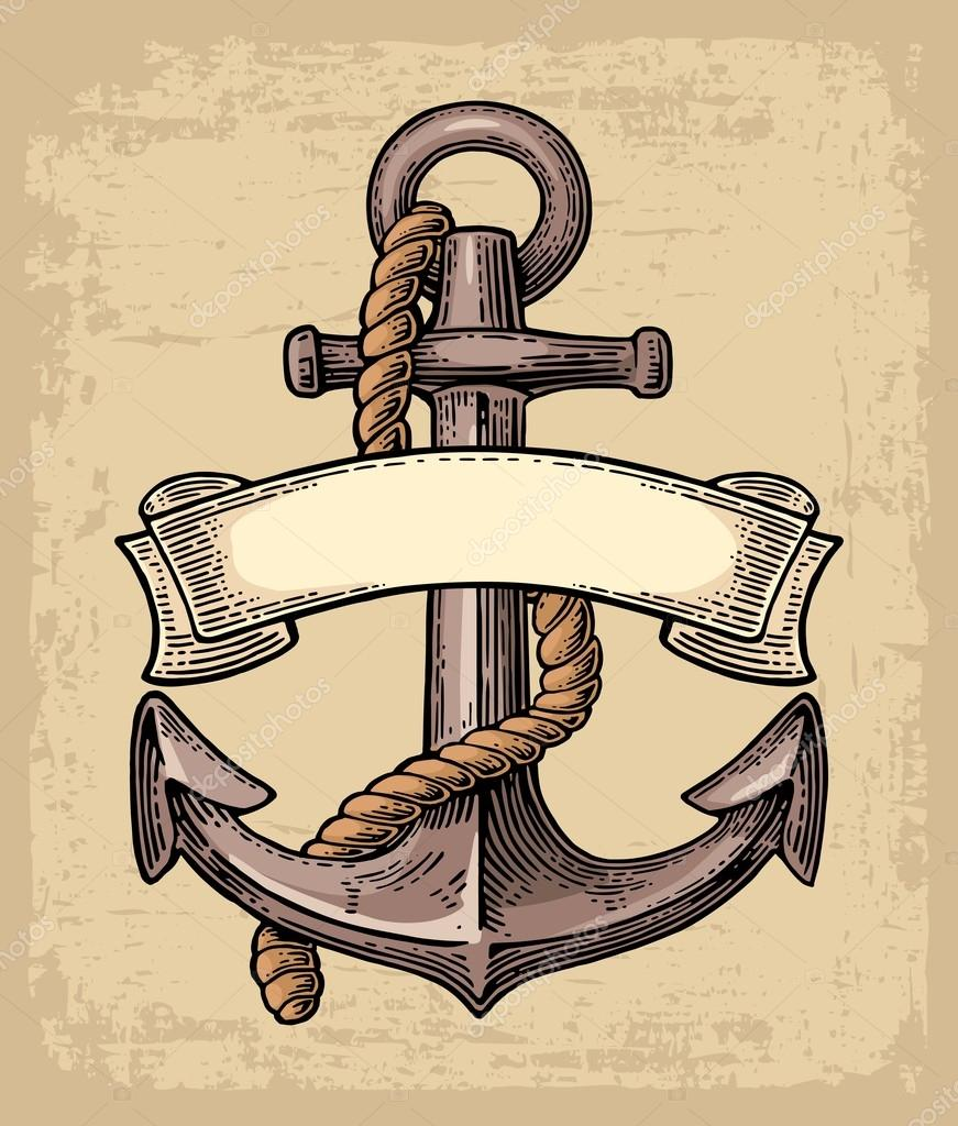Drawn ribbon anchor rope Background for color on background