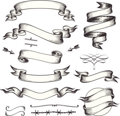 Drawn ribbon art Illustration illustration All Old Hand