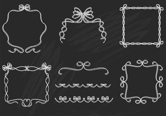 Drawn ribbon chalk Brushes Ribbon Frame and Pack