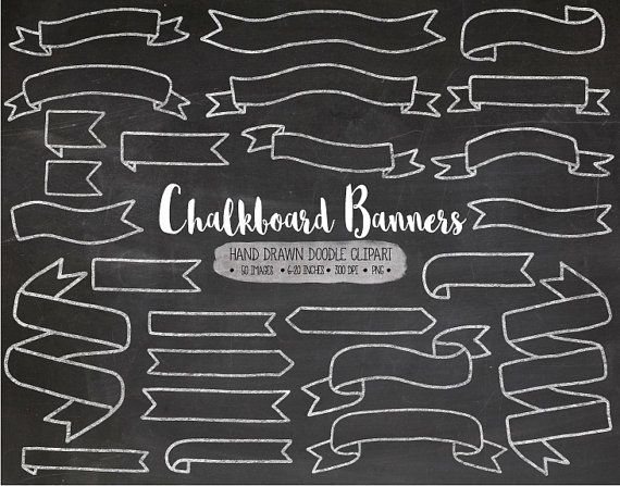Drawn ribbon chalk Banners Doodle Chalk Art from