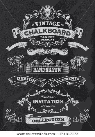 Drawn ribbon chalkboard With  chalkboard Hand ribbon