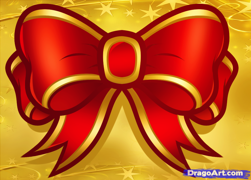 Drawn ribbon christmas By Step to How Step