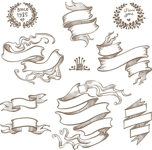 Drawn ribbon classic Ornaments Retro Flamulas 04 121