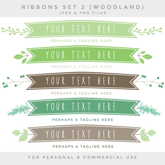 Drawn ribbon Ribbon tags digital banners woodland