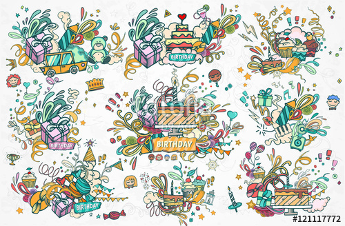 Drawn ribbon confetti Abstract and and illustration balloon