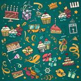 Drawn ribbon confetti Vector  celebration Party gifts