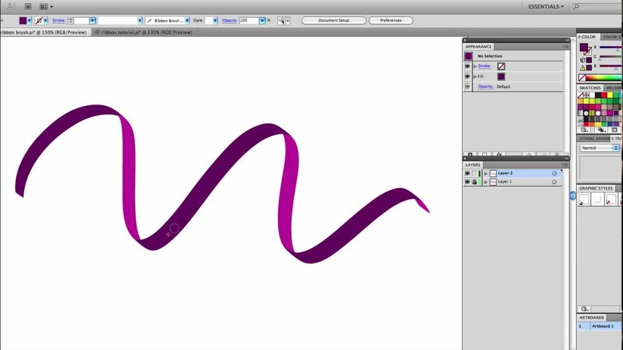 Drawn ribbon curl A Tutorial:  Illustrator free