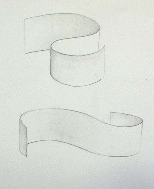 Drawn ribbon curl Fun paper Drawing Ribbons shading