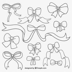 Drawn ribbon cute bow File Hand+Drawn+Bow EPS hand Free