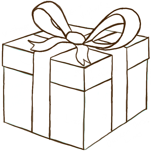 Drawn ribbon gift box How Present with or a