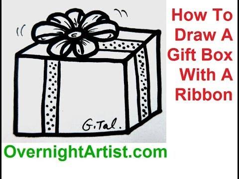 Drawn ribbon gift box Present With Ribbon Box Draw