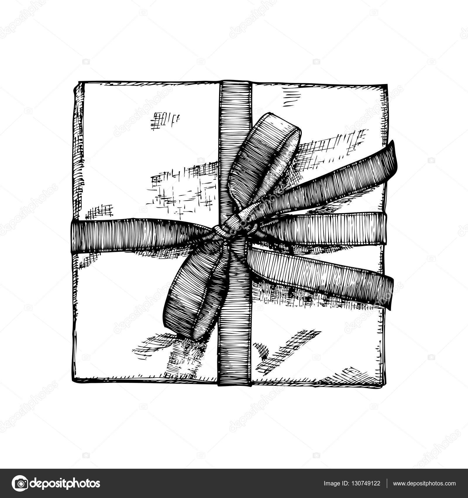 Drawn ribbon gift box Box Isolated drawn sketch box