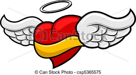 Drawn ribbon heart banner Winged of a Banner Illustration