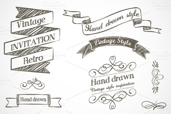 Drawn ribbon hipster Vintage Hand Hand drawn elements