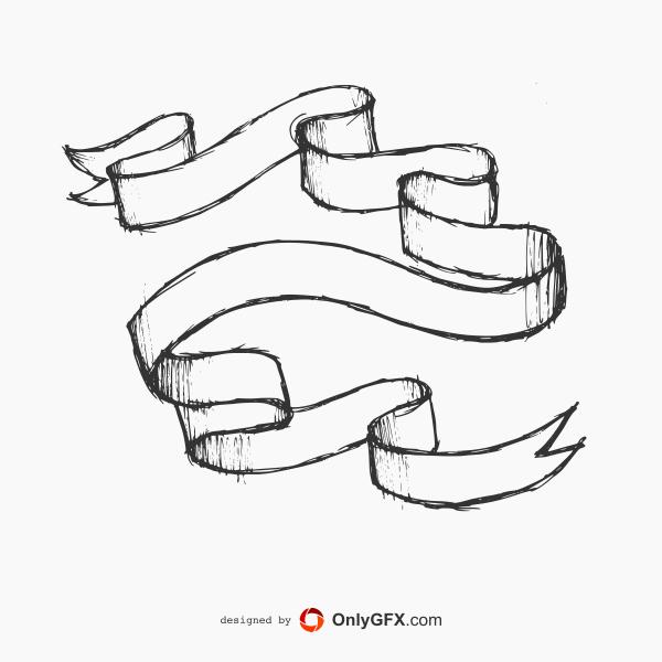 Drawn ribbon label Ribbon OnlyGFX Vector (EPS Hand