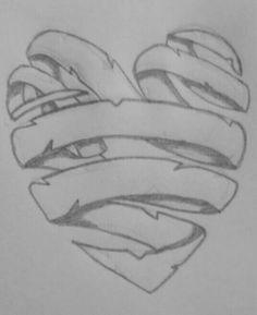 Drawn ribbon pencil drawing  Google Drawing Search heart