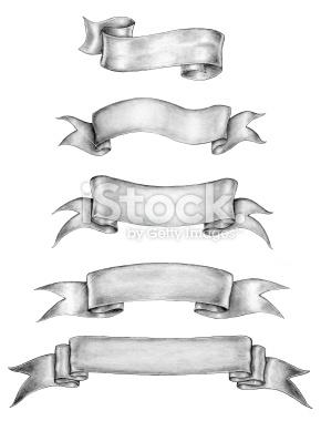 Drawn ribbon pencil drawing Ink stock ·  old