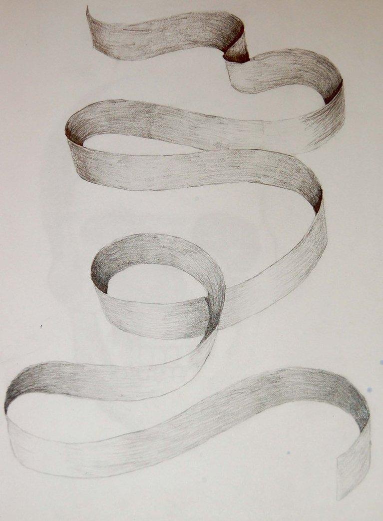 Drawn ribbon pencil drawing Drawing Images:  Ribbon