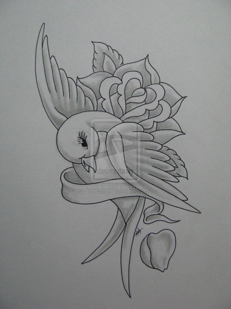 Drawn ribbon pencil drawing Printable digital with Ribbon drawing