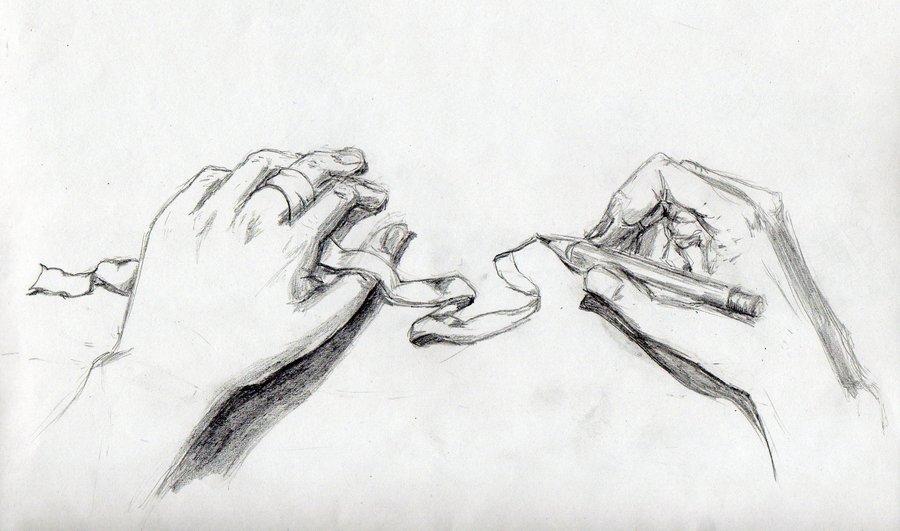 Drawn ribbon pencil drawing By hands and ribbon study