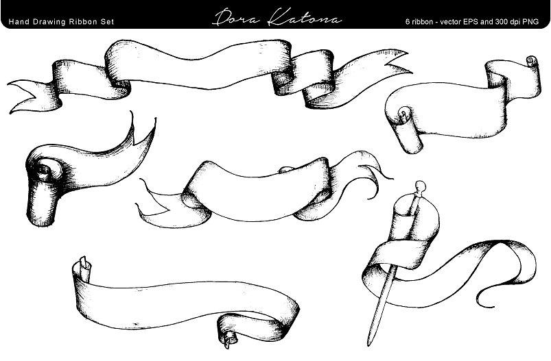 Drawn ribbon png vintage On Market Creative Set