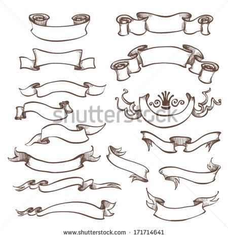 Drawn ribbon retro Drawn 171714641 set vintage vector