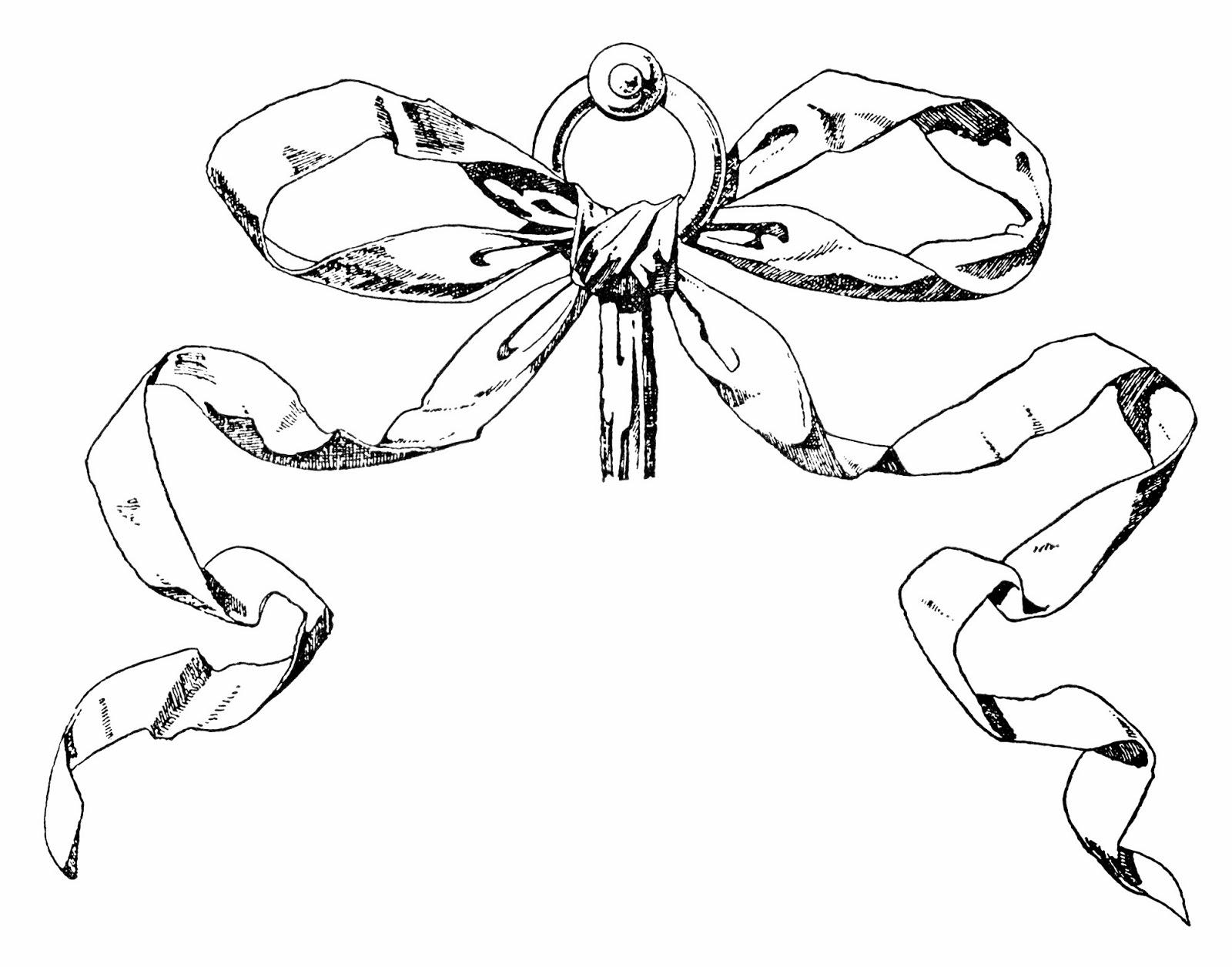 Drawn ribbon ribbon bow A & Ribbon for a