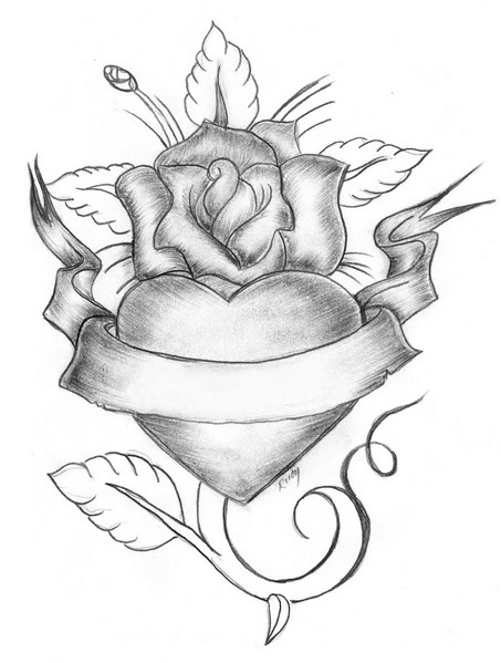 Drawn ribbon rose ribbon Draw Heart Roses Roses Ribbons