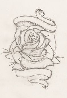 Drawn ribbon rose ribbon The dads Tattoos Pinterest ribbon