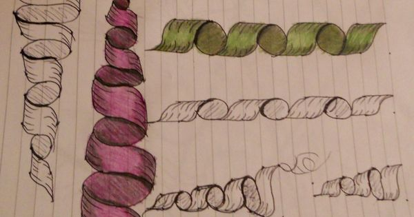 Drawn ribbon shaded  bring Dusty: Zentangle and