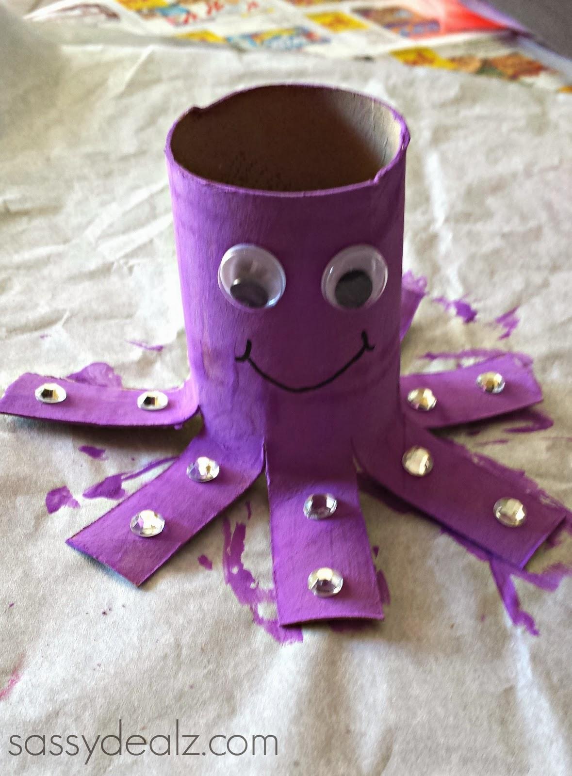 Drawn ribbon toilet roll Crafty Octopus Paper roll octopus