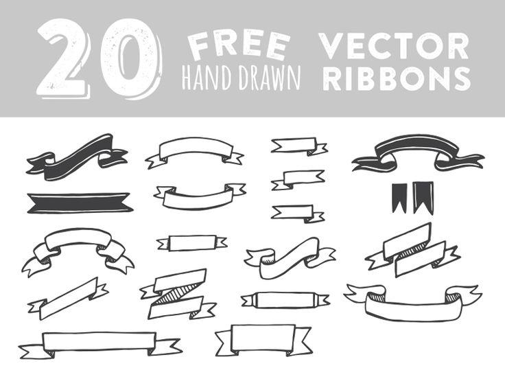 Drawn ribbon typography Ribbons 121 Hand best Pinterest