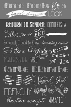 Drawn ribbon typography Ribbon chalkboard banners hand free