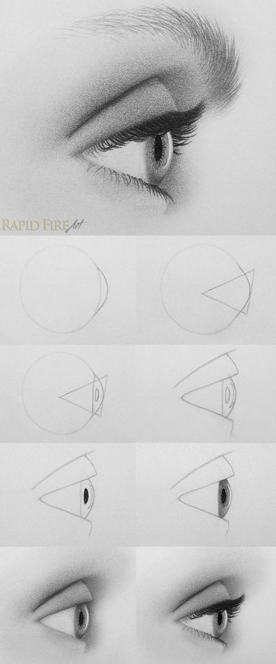 Drawn right side face Tutorial: How the http://rapidfireart Eye