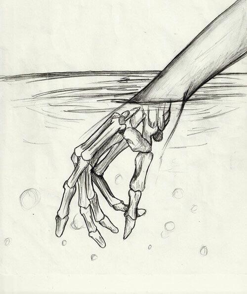 Drawn triipy skeleton Draws fingers bones fingers art